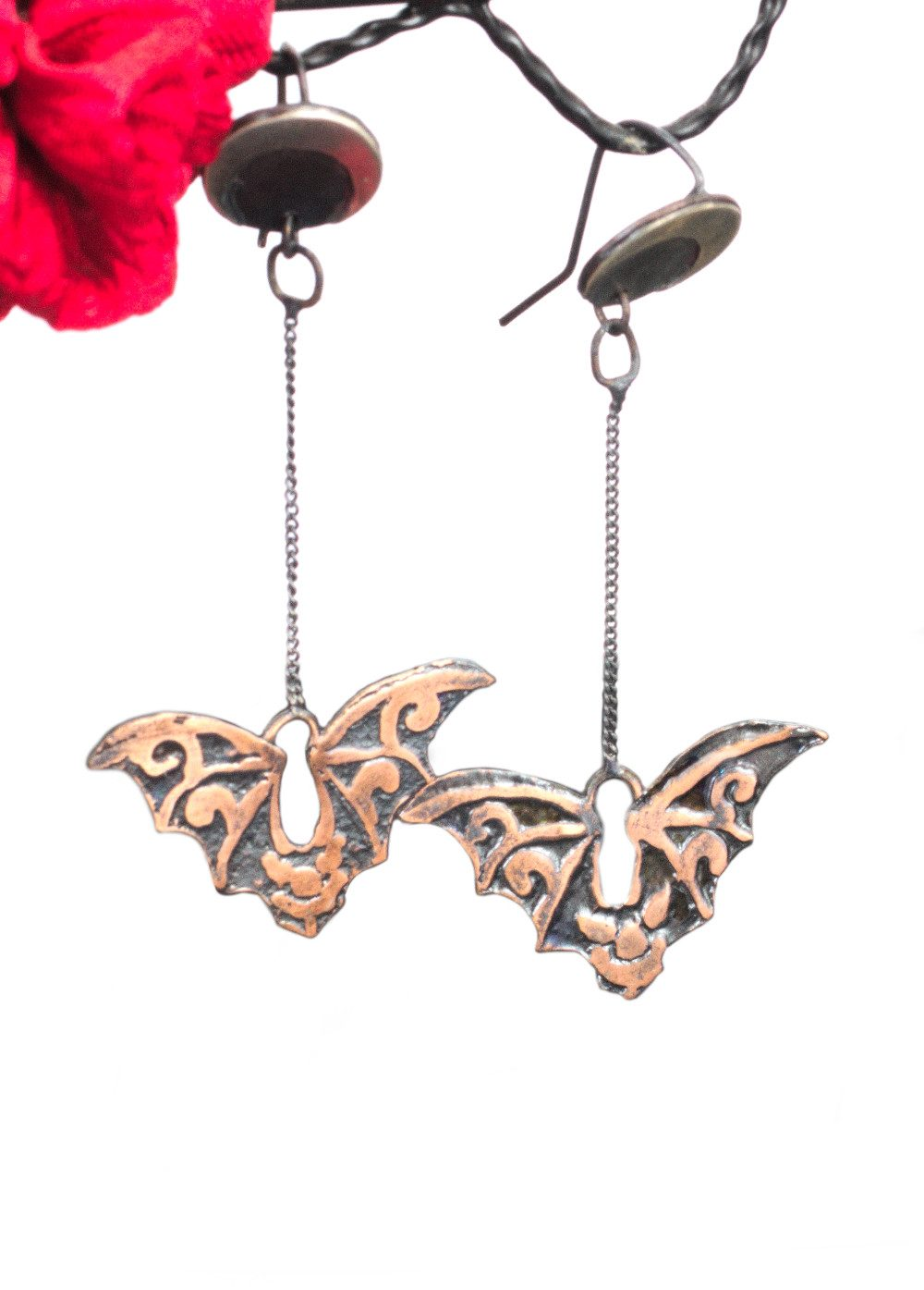 Copper and silver flying bat earrings