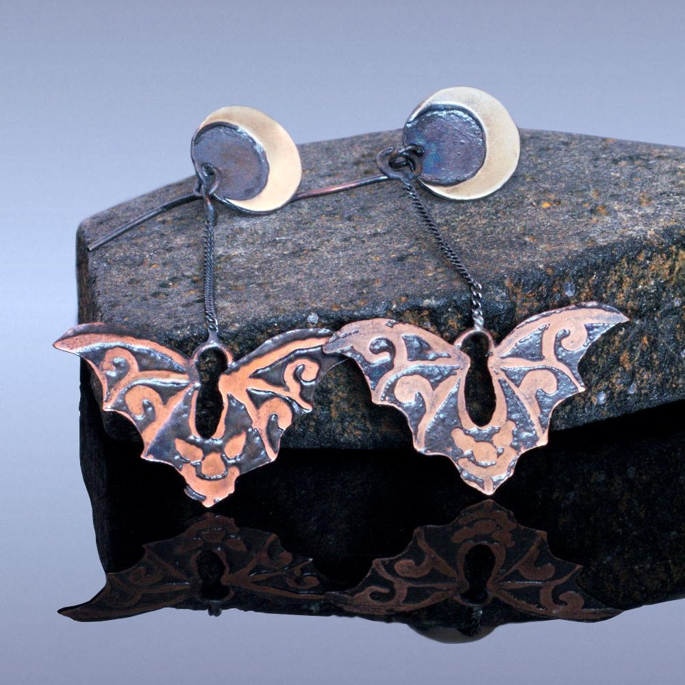 etched copper and sterling silver flying bat earrings