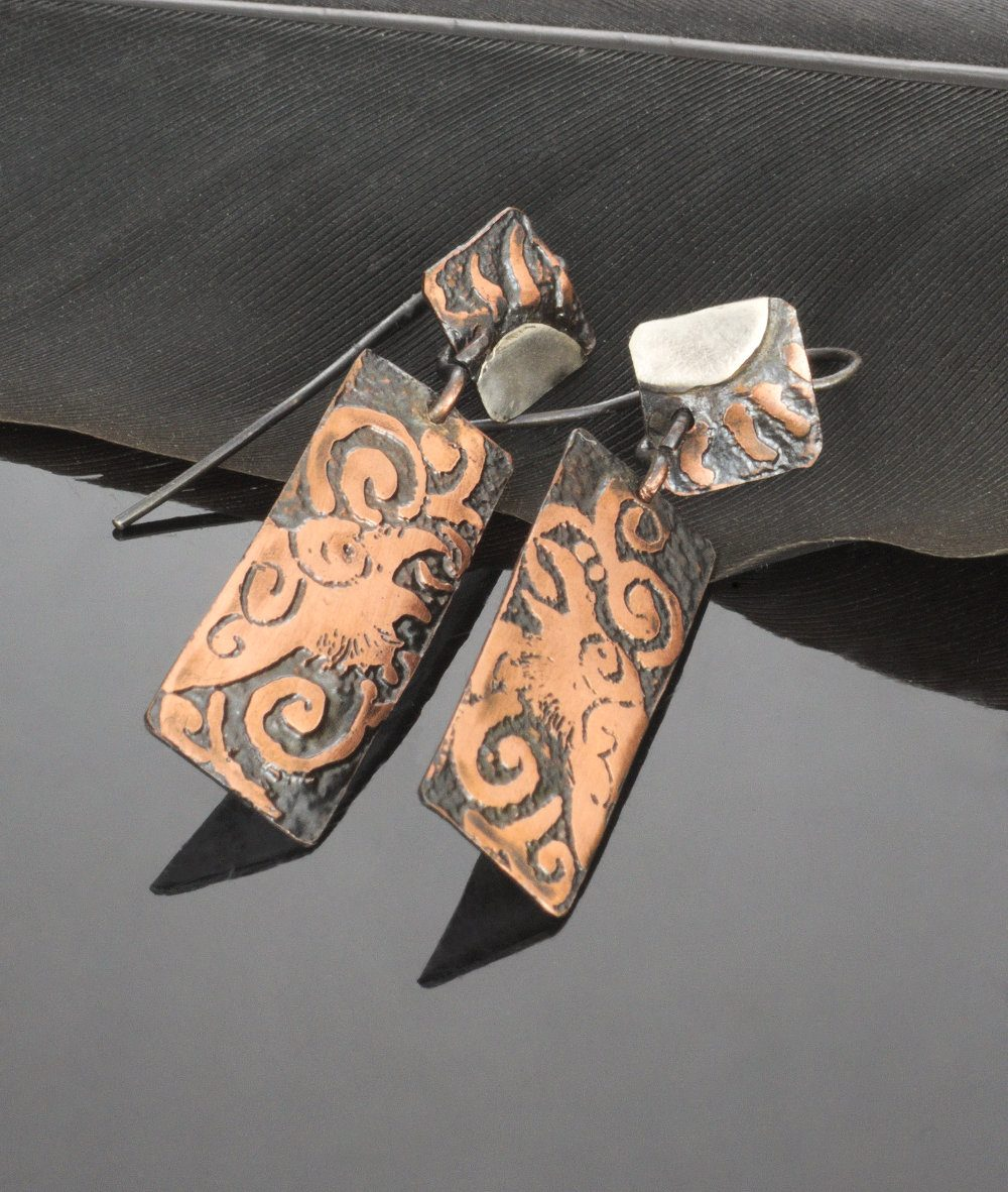 Copper calling raven earrings with sterling silver accents