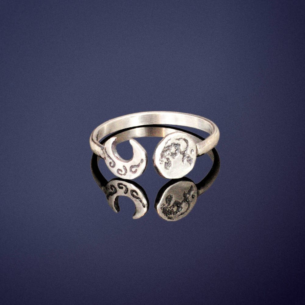 sterling silver crescent & full moon ring