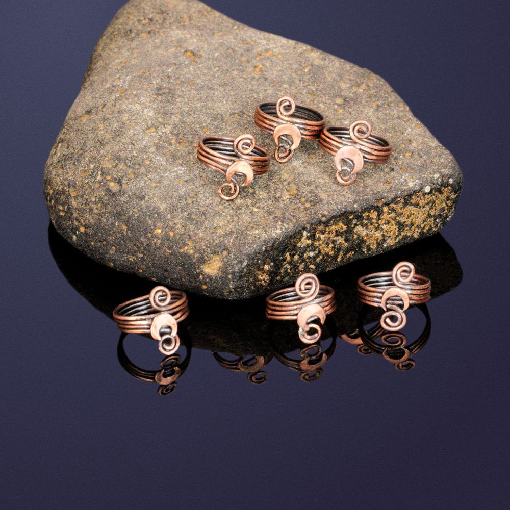 copper crescent moon hair rings