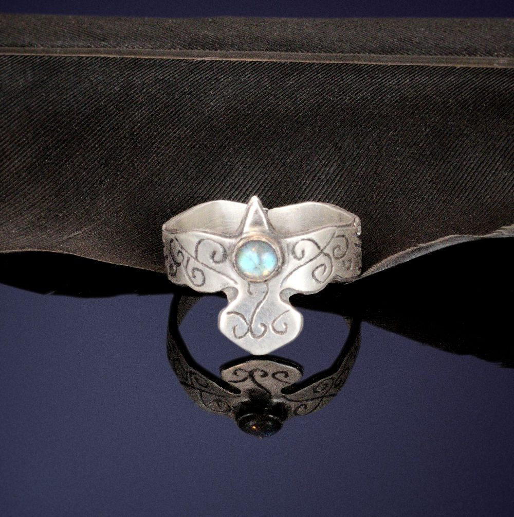 sterling silver flying raven ring with labradorite