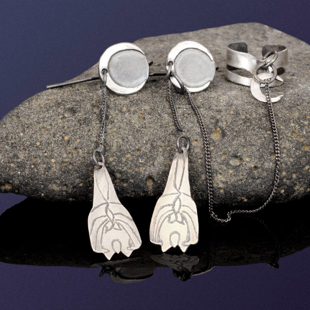 sterling silver bat earrings combined with an ear cuff