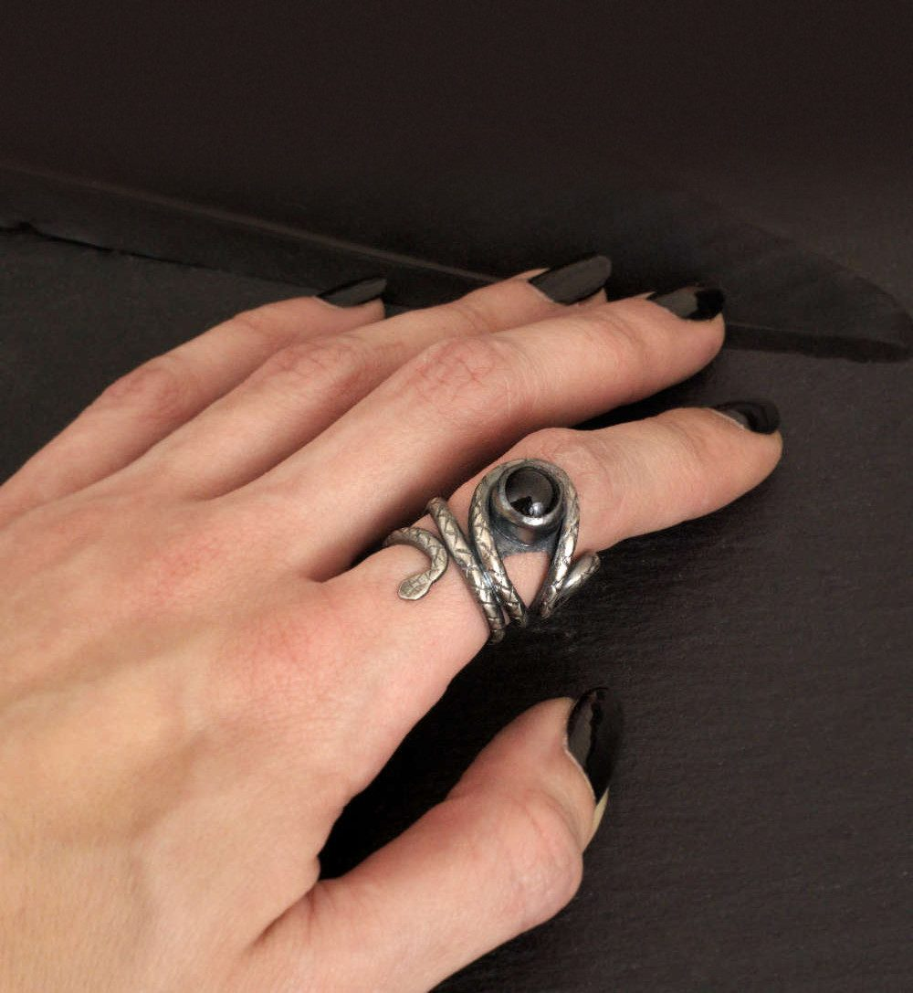 Adjustable sterling silver snake ring with black onyx