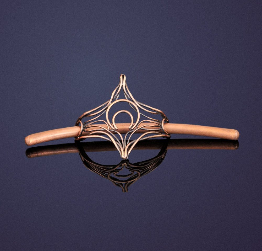 twigs and crescent moon copper hair barrette