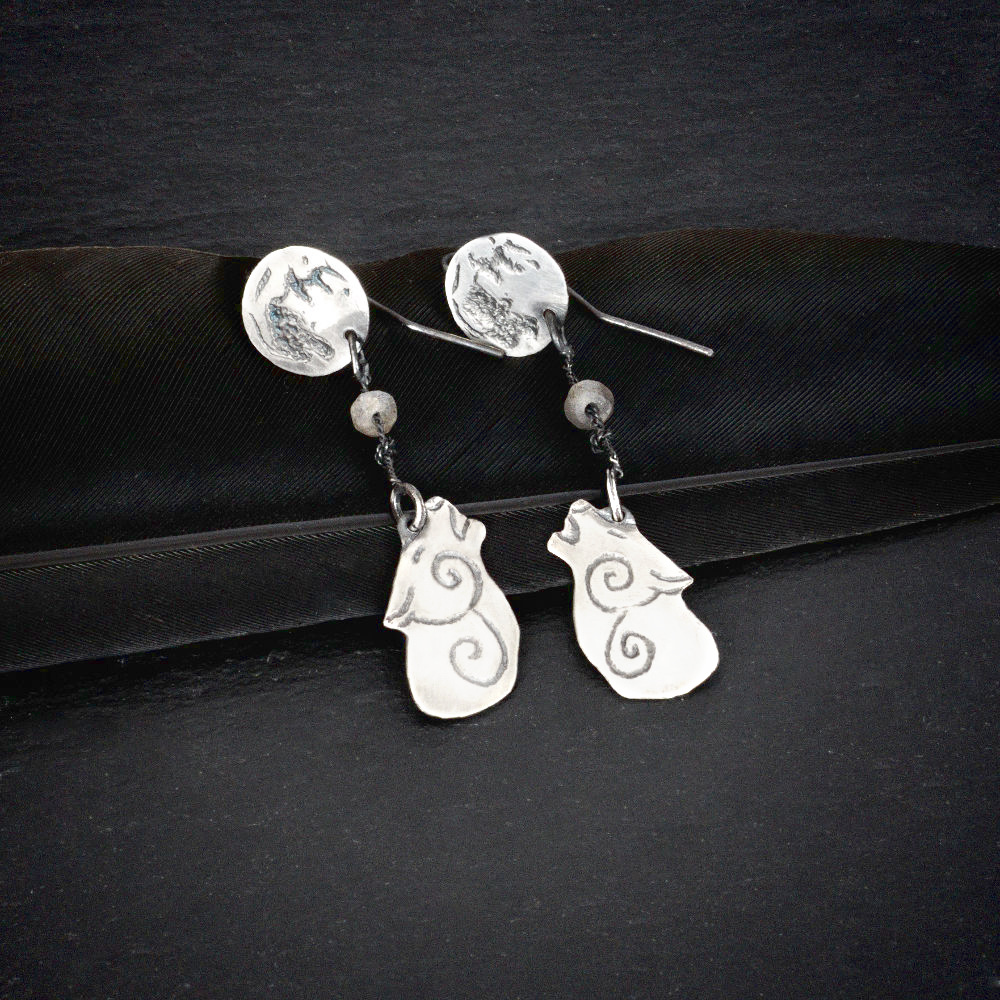 sterling silver howling wolf earrings