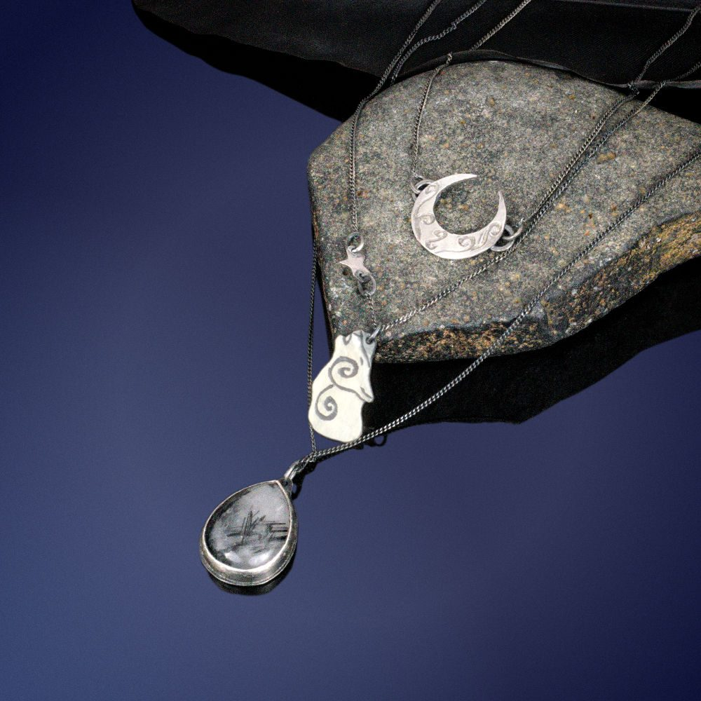 sterling silver triple layered choker with crescent moon, howling wolf, and rutilated quartz