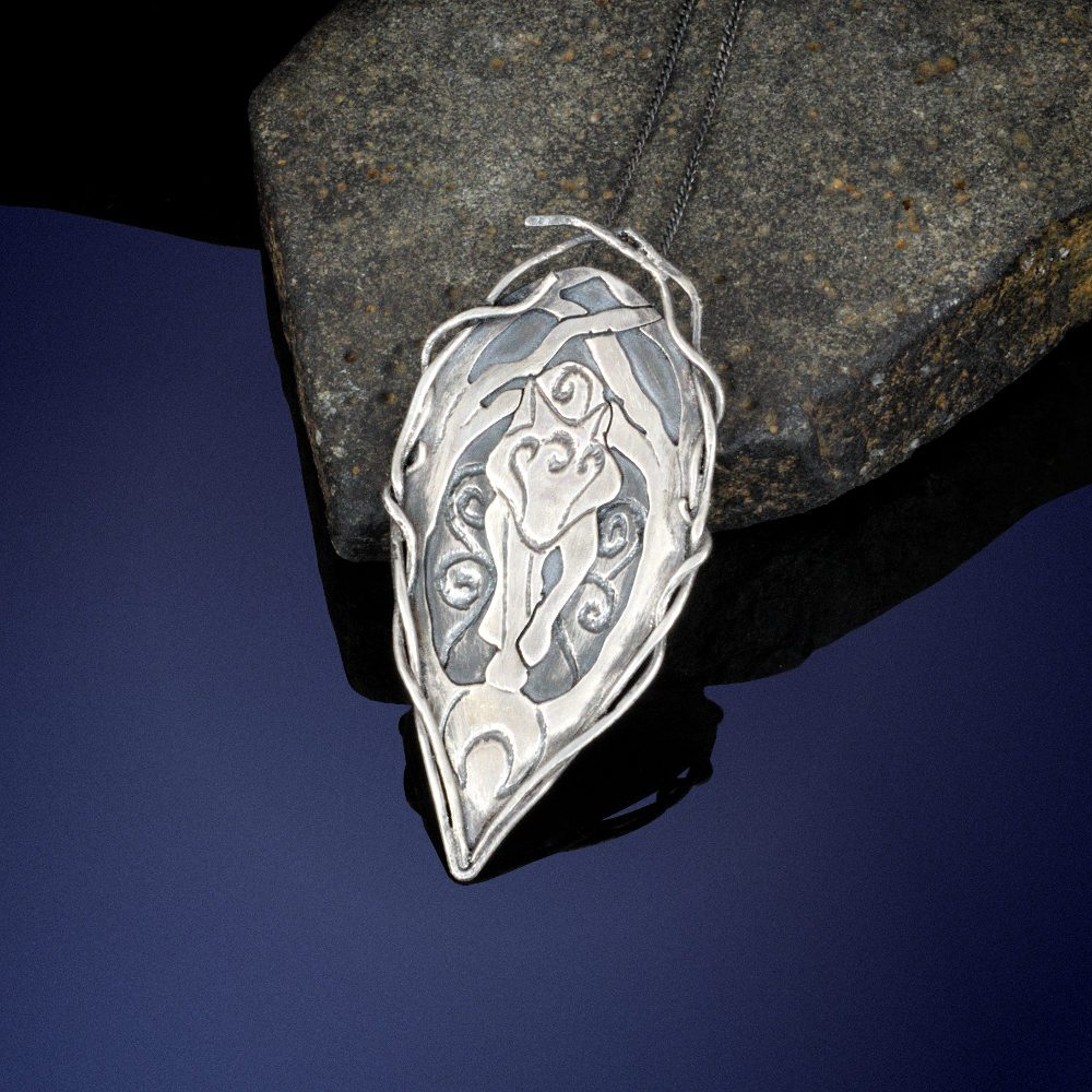 sterling silver wolf pendant