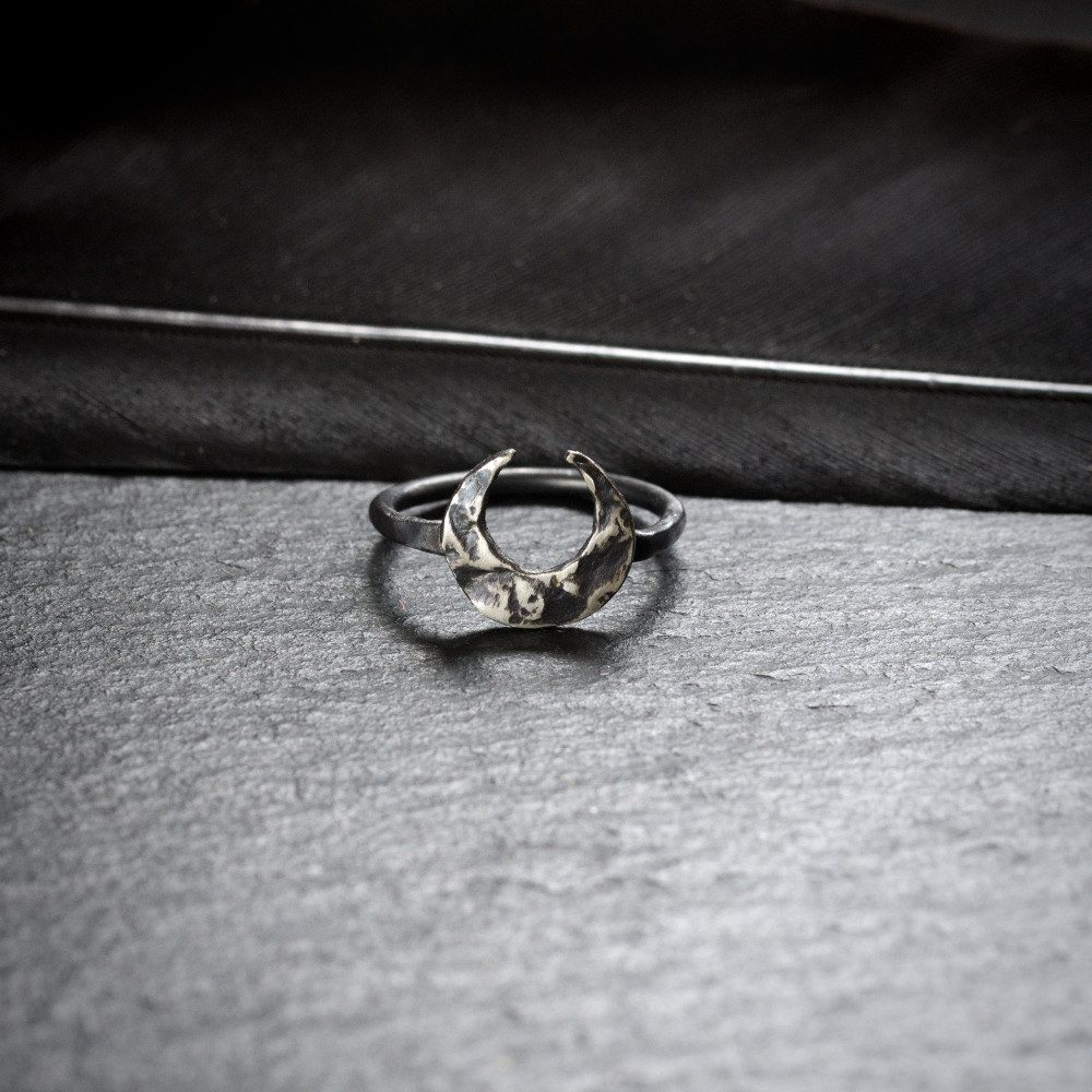 sterling silver crescent moon midi ring
