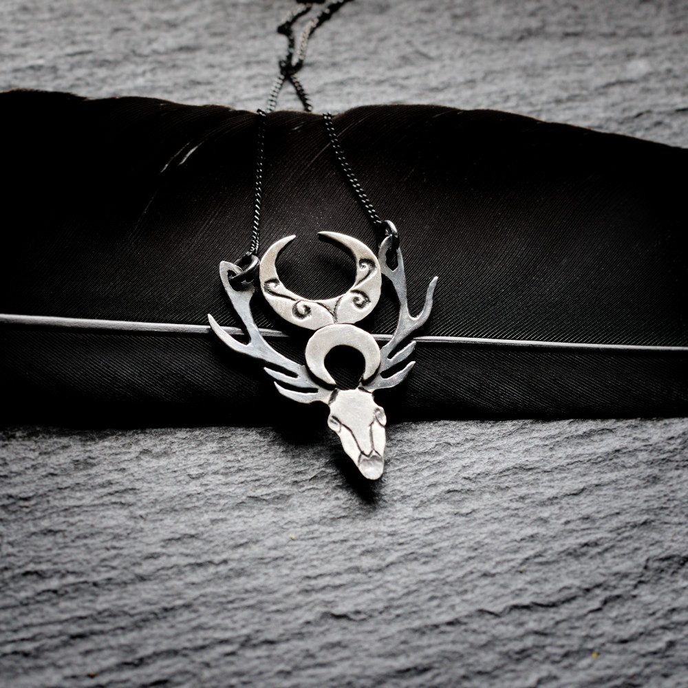 Sterling silver crescent moons and deer skull necklace