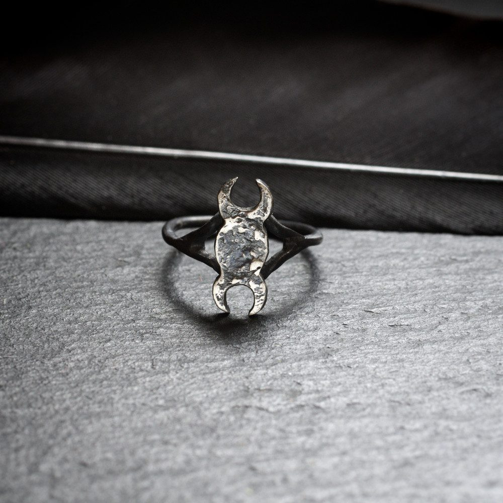 sterling silver triple goddess midi ring
