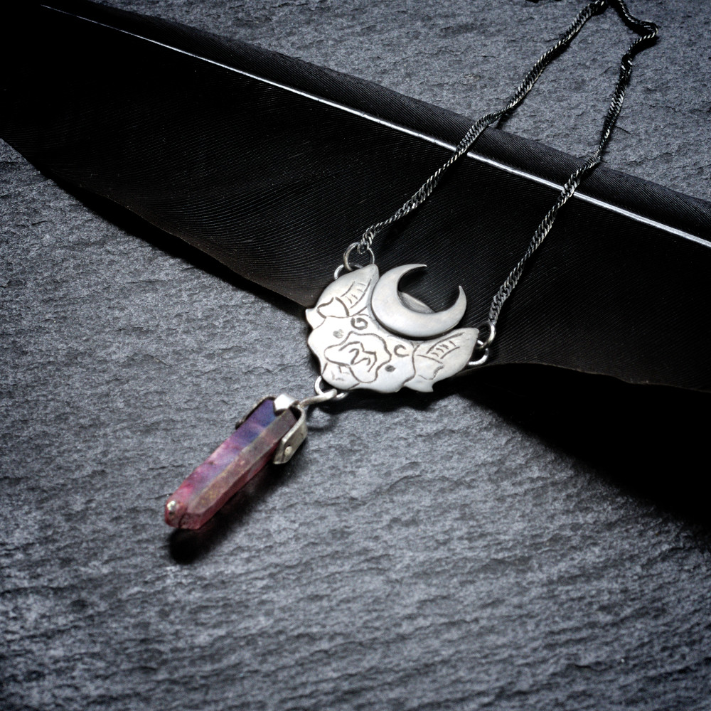 Sterling silver vampire bat necklace with coloured quartz crystal