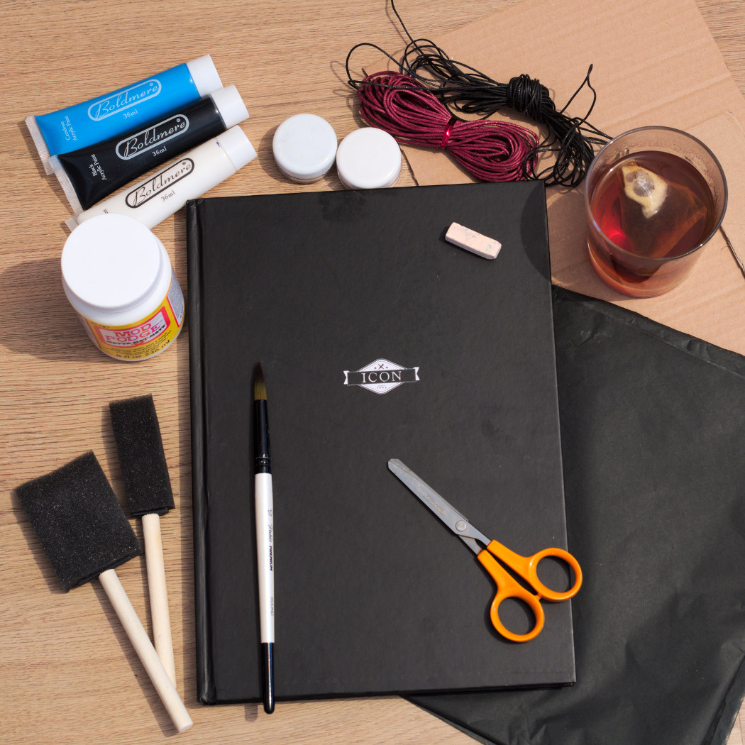 materials needed for the witchy journal DIY