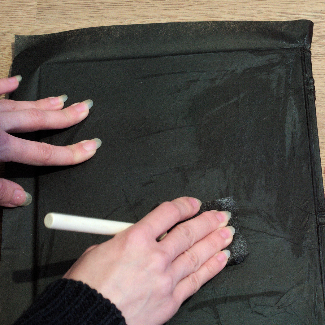 smoothing down wrinkles on the back cover of a sketchbook. witchy journal DIY