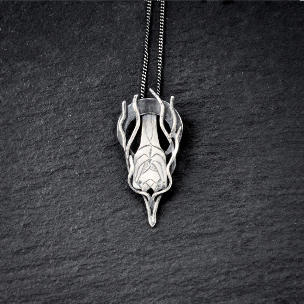 sterling silver sleeping bat pendant