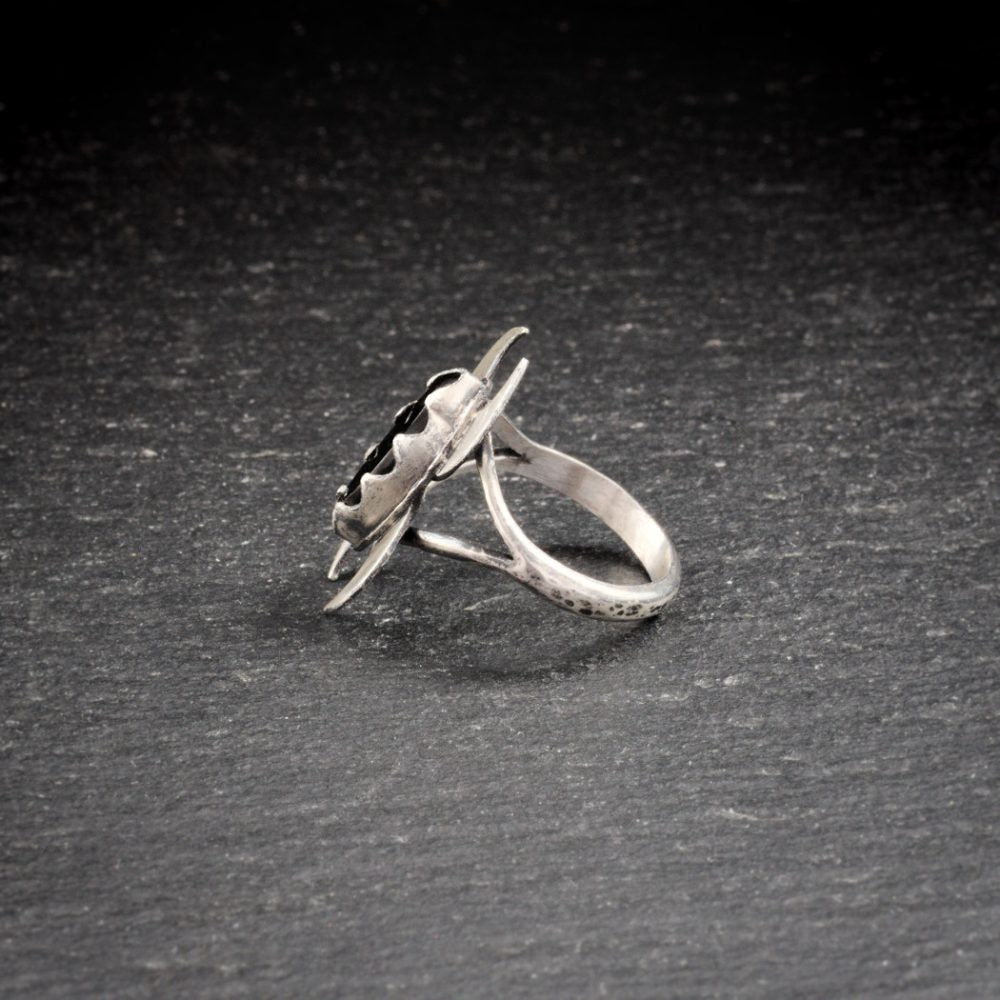 Sterling silver double crescent moon ring with Whitby jet - side view