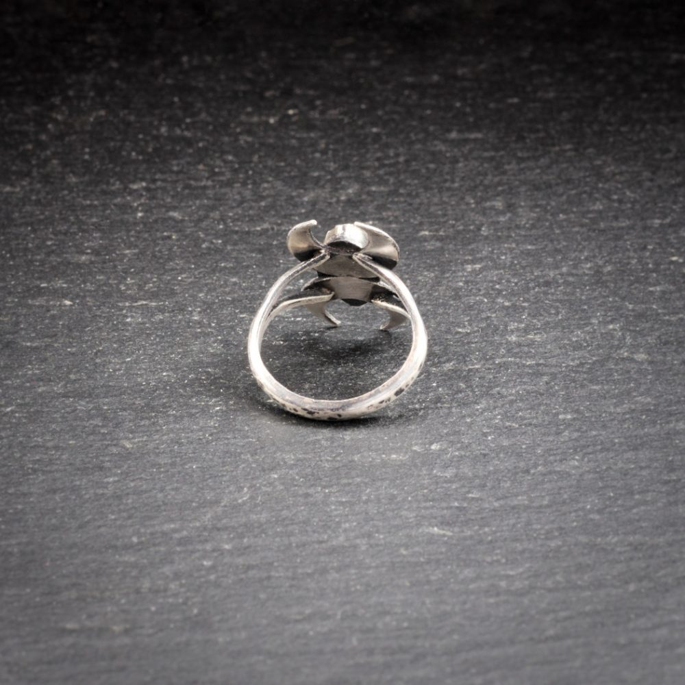 Sterling silver double crescent moon ring with Whitby jet - back view